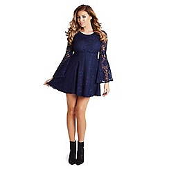 Jessica Wright - Navy 'Halle' lace flared sleeve skater dress