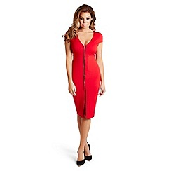 Jessica Wright - Red 'Kate' zip front bodycon dress