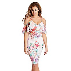 Jessica Wright for Sistaglam - Cream floral 'Darcy' spaghetti strapped midi dress