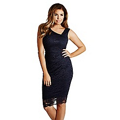 Jessica Wright - Navy 'Peggy' lace ruched bodycon dress