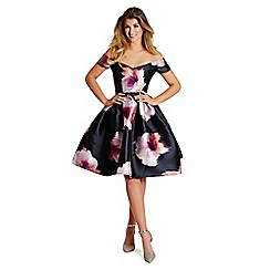 Lipstick Boutique - Multicoloured floral 'Khloe' print bardot dress