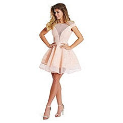 Lipstick Boutique - Peach 'Susan' bonded lace prom dress