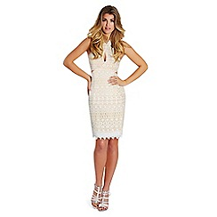Lipstick Boutique - White 'Ferne' halter-neck cutout mini dress