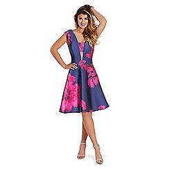 Lipstick Boutique - Floral print 'Sadie' plunge neck prom dress