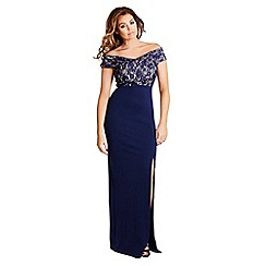 Jessica Wright - Navy 'Tori' lace bust off the shoulder maxi dress
