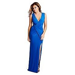 Jessica Wright - Blue 'Mylene' slinky ruched wrap front maxi dress