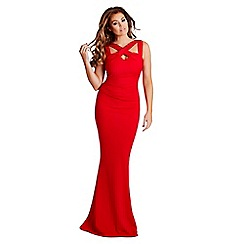 Jessica Wright for Sistaglam - Red 'Krystal cutout cross neck maxi dress