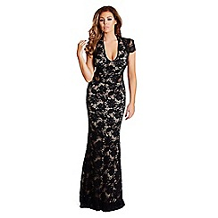 Jessica Wright - Black 'Belle' lace cut out maxi dress