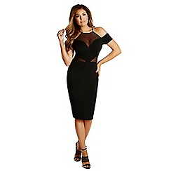 Jessica Wright - Nadine 'Black' off the shoulder mesh insert midi dress