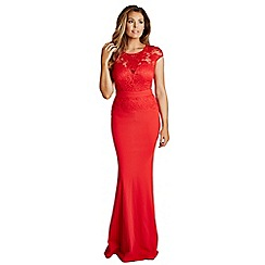 Jessica Wright for Sistaglam - Red 'Blair' lace detail maxi dress