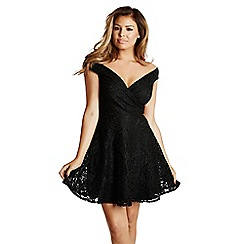 Jessica Wright - Black 'Amara' lace bardot skater dress