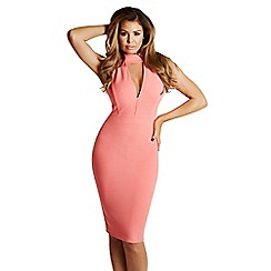 Jessica Wright - Coral 'Aurora' high neck plunge bodycon dress