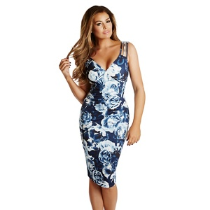 Jessica Wright for Sistaglam Floral print 'Elodie' pleated midi dress
