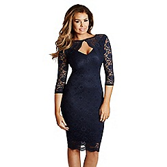 Jessica Wright - Navy 'Delaney' lace keyhole dress