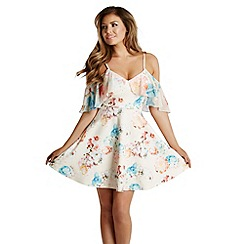 Jessica Wright - Cream floral 'Clara' cold shoulder skater dress