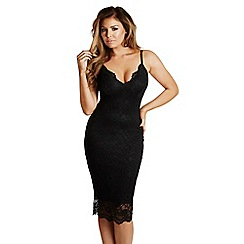 Jessica Wright for Sistaglam - Black 'Harriet' scalloped lace bodycon midi dress