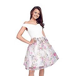 Lipstick Boutique - Floral 'Violetta' organza bardot prom dress