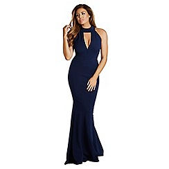 Jessica Wright for Sistaglam - Navy 'Arina' high neck plunge maxi dress