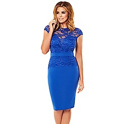 Jessica Wright for Sistaglam - Cobalt blue 'Bliss' lace detail bodycon dress