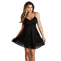 Jessica Wright - Black 'Adaline' geometric bonded skater dress