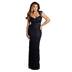 Jessica Wright for Sistaglam - Navy 'Rebecca' sequin lace maxi dress
