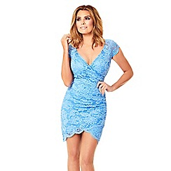 Jessica Wright - Cornflower blue 'Faith' lace wrap front bodycon dress