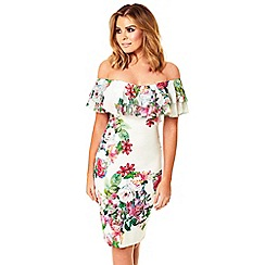 Jessica Wright - Multicoloured 'Willow' off the shoulder floral frill bodycon dress