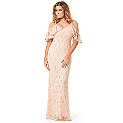 Jessica Wright - Nude 'Christina' sequin lace cold shoulder maxi dress