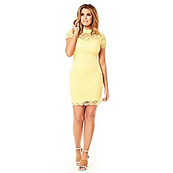 Jessica Wright for Sistaglam - Lemon 'Kendall' all over lace bodycon dress