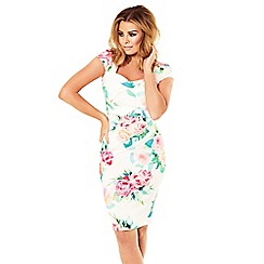 Jessica Wright for Sistaglam - Floral 'Elsa' square neck ruched bodycon dress