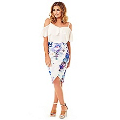 Jessica Wright for Sistaglam - Floral 'Andrea' wrap front pencil skirt