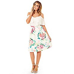 Jessica Wright - Cream 'Louiza' floral print skater skirt