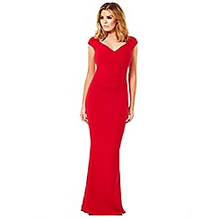 Jessica Wright - Red 'Camilla' ruched bodycon maxi dress