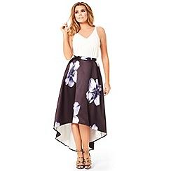 Jessica Wright - Floral print 'Loretta' dip hem midi skirt
