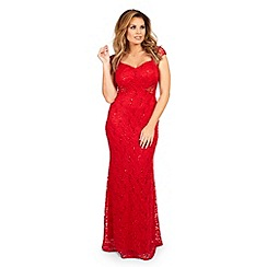 Jessica Wright for Sistaglam - Red 'Rebecca' sequin lace maxi dress
