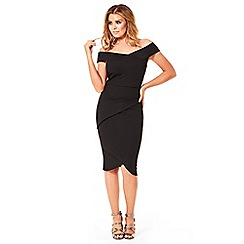 Jessica Wright - Black 'Valerie' bardot pleated bodycon dress