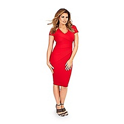 Jessica Wright - Red 'Betty' v-neck pleated bodycon midi dress