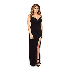 Jessica Wright - Black 'Myla' slinky ruched wrap front maxi dress