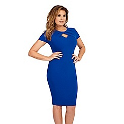Jessica Wright for Sistaglam - Blue 'Cathy' pleated keyhole bodycon dress