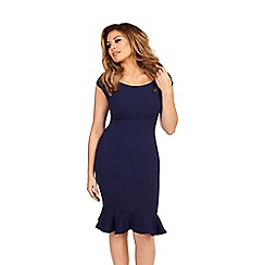 Jessica Wright - Navy 'Marie' frill hem bodycon midi dress