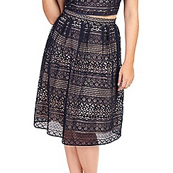 Jessica Wright for Sistaglam - Navy 'Pollie' paneled lace midi skirt