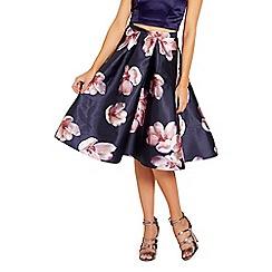 Sistaglam - Floral 'Irena' sateen pleated midi skirt