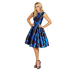 Lipstick Boutique - Blue 'Natalya' floral sateen round neck midi prom dress