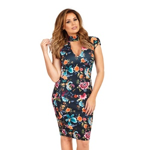 Jessica Wright for Sistaglam Floral 'Alma' high neck plunge bodycon dress