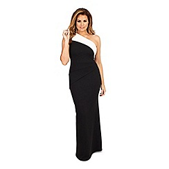 Jessica Wright for Sistaglam - Monochrome 'Dixie' one shoulder maxi dress