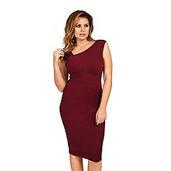Jessica Wright for Sistaglam - Burgundy 'Toni' ruched bodycon dress