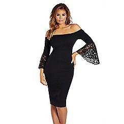 Jessica Wright for Sistaglam - Black 'Zazie' bardot frill sleeve dress