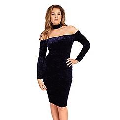 Jessica Wright - Navy 'Jessy' navy velvet choker bardot midi dress