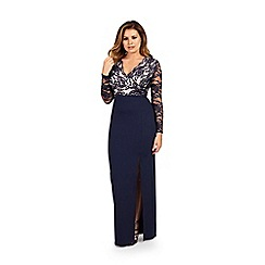 Jessica Wright for Sistaglam - Navy 'Tamera' lace detail maxi dress