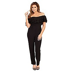 Jessica Wright - Black 'Brooke' bardot frill jumpsuit